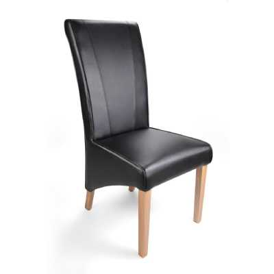 Marseille Wide Back Matt Bonded Leather Black Dining Chair