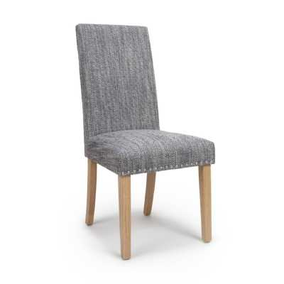 Pair of Modern Randall Tweed Grey Dining Chair with Natural Legs