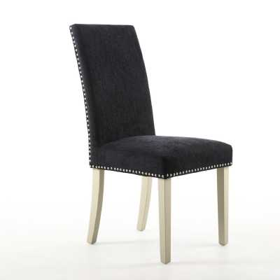 Pair of Randall Dining Chairs Chenille Effect Jet Black and Cream Legs