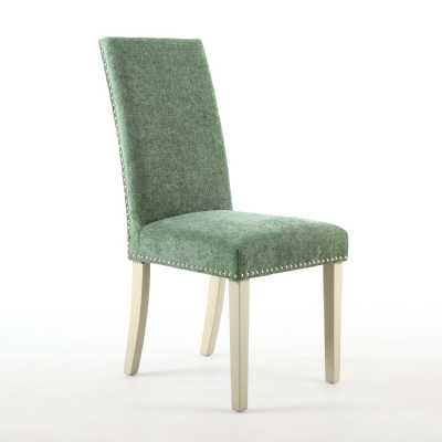 Pair of Randall Dining Chairs Chenille Effect Olive with Cream Legs