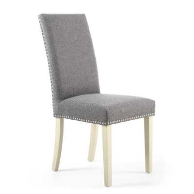 Randall Linen Effect Steel Grey Dining Chairs Cream Legs Pair of