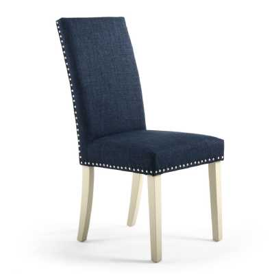 Pair of Randall Linen Effect Dining Chairs Polo Blue with Cream Legs