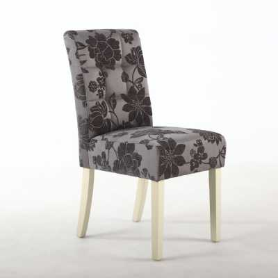 Pair of Moseley Dining Chairs with Jacquard Antique Grey in Cream Legs
