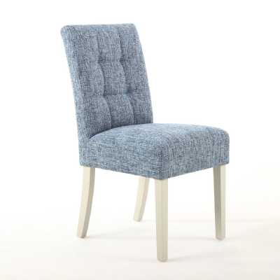 Moseley Dining Chair Fleck Effect Oxford Blue with Cream Legs Pair of