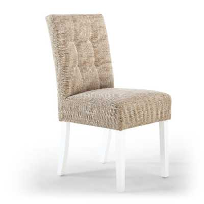 Stitched Waffle Back Dining Chair in Light Oatmeal Tweed Fabric