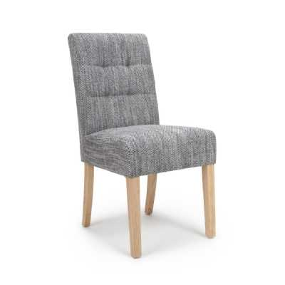 Modern Moseley Dining Chair Tweed Grey with Natural wood Legs Pair of