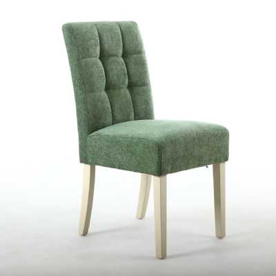 Moseley Dining Chair Chenille Effect Olive Green with Cream Legs Pair