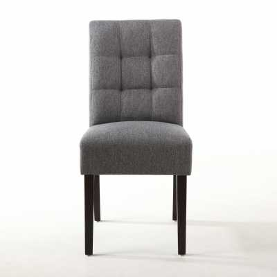 Steel Grey Stitched Waffle Back Dining Chair Modern Linen Effect Fabric