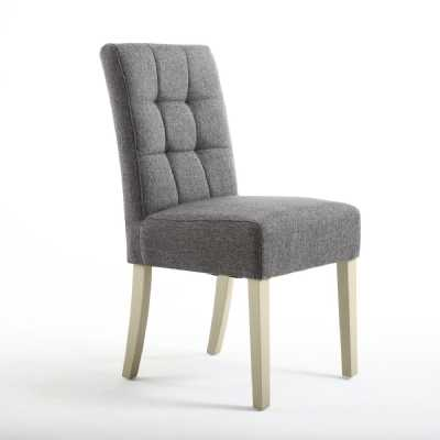 Moseley Dining Chair Linen Effect Steel Grey with Cream Legs Pair of