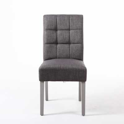 Stitched Waffle Back Dining Chair in Steel Grey Linen Effect Fabric