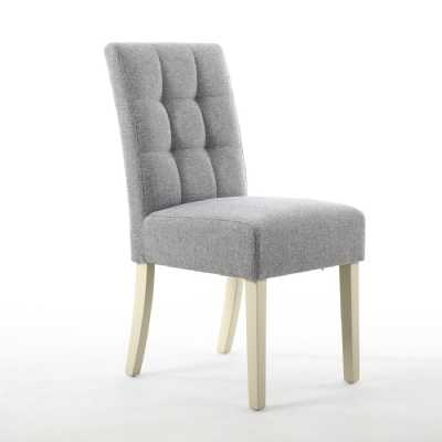 Pair of Moseley Linen Grey Dining Chairs Waffle Back with Cream Legs