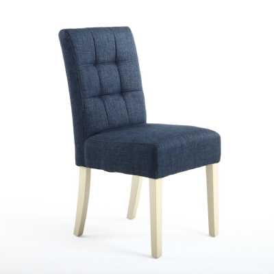 Pair of Modern Moseley Linen Polo Blue Dining Chairs with Cream Legs