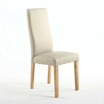 Bexley Wave Back Matt Leather Effect Ivory Chair