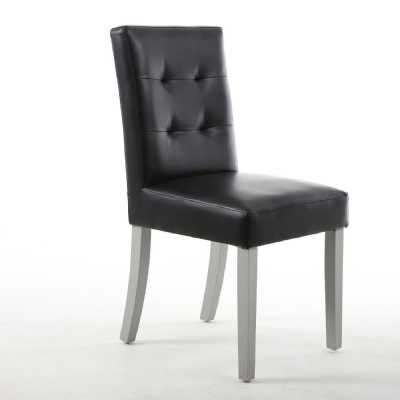 Pair of Sadler Black Matt Bonded Leather Dining Chair with Grey Legs