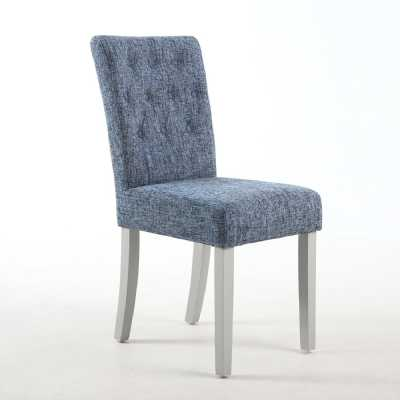 Pair of Button Back Dining Chairs in Fleck Oxford Blue with Grey legs