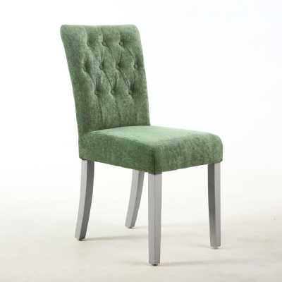 Button Back Dining Chair in Chenille Olive Green with Grey legs Pair