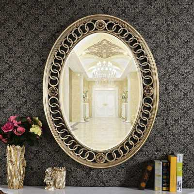 Traditional Style Boucle Linked Oval Wall Mirror with Silver Frame