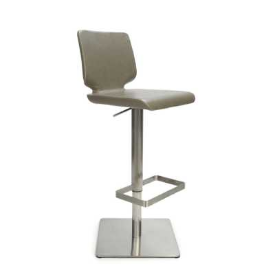 City Grey Antiqued Leather Match Skypod Square Base Bar Stool