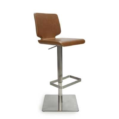 Urban Tan Antiqued Leather Match Skypod Square Base Bar Stool