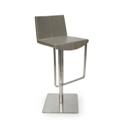 City Grey Antiqued Leather Match Skypod Square Back Bar Stool