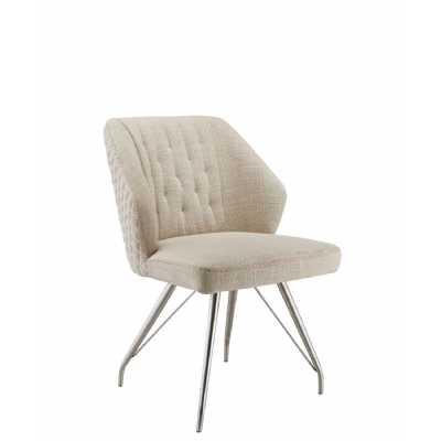 Natural Textured Linen Effect Occasional Brushed Steel Framework Chair