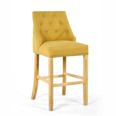 Jonquil Yellow Stonewash Effect Button Back and Nailhead Trimmed Bar Chair