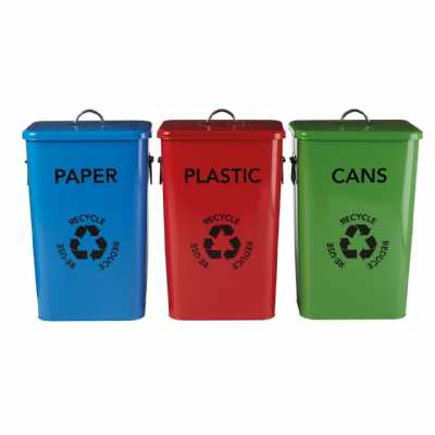 Set Of 3 Recycle Logo Bins