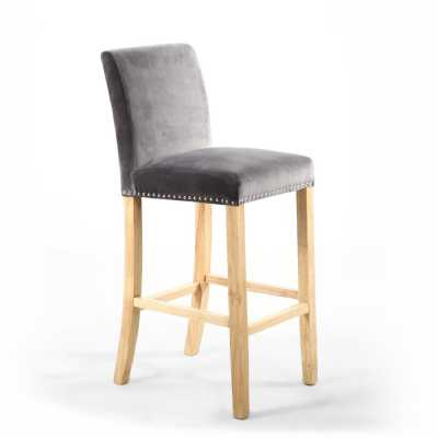 Grey Brushed Velvet Square Back With Ring Luxury Bar Chair