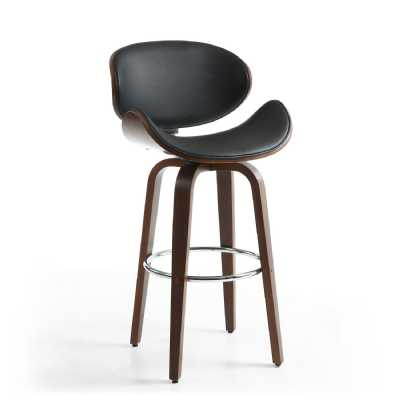 Black Leather Match Walnut Vision Curved Seat Bar Chair