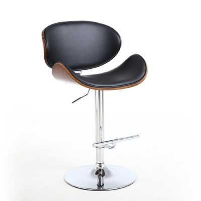 Black Leather Match Walnut Vision Curved Bar Stool