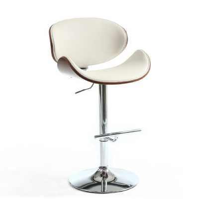 Cream Leather Match Walnut Vision Curved Bar Stool