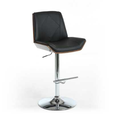 Black Leather Match Walnut Vision Stitched Bar Stool