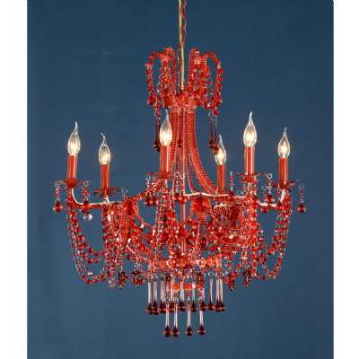 Marie Therese Lace Red Chandelier, Red Crystal 6 Arm