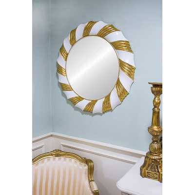 Modern Champagne Twist Wall Mirror with Gold and White Round Frame