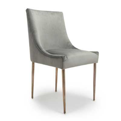 Modern Earl Brushed Velvet Grey Dining Chair and Rose Gold Effect Legs
