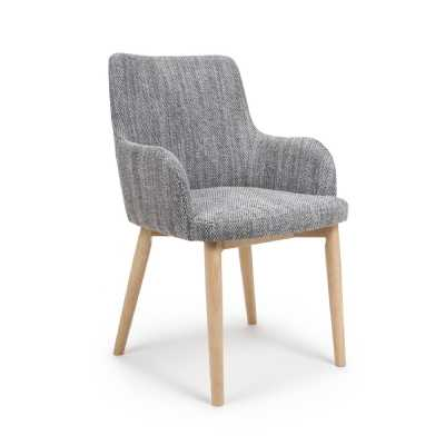 Modern Pair of Sidcup Tweed Grey Dining Chairs with Natural Wood Legs