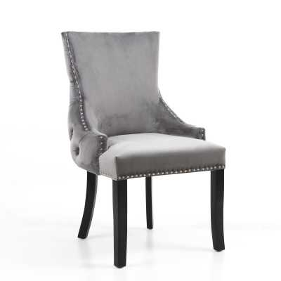 Winslow Brushed Velvet Grey Accent Chair by Shankar