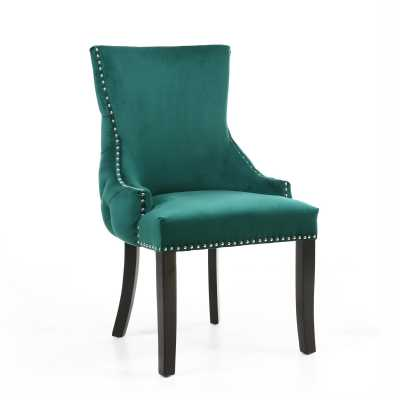 Winslow Brushed Velvet Green Accent Chair by Shankar