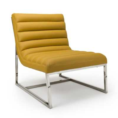 Darwin Leather Match Yellow Accent Chair by Shankar