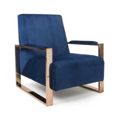 Astor Brushed Velvet Ocean Blue Armchair