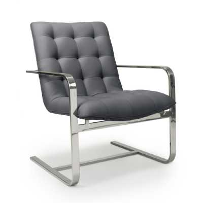 Logan Cantilever Leather Match Graphite Grey Accent Chair by Shankar