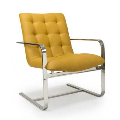 Logan Cantilever Leather Match Yellow Accent Chair by Shankar