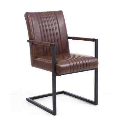 Archer Cantilever Leather Match Brown Carver Chair by Shankar