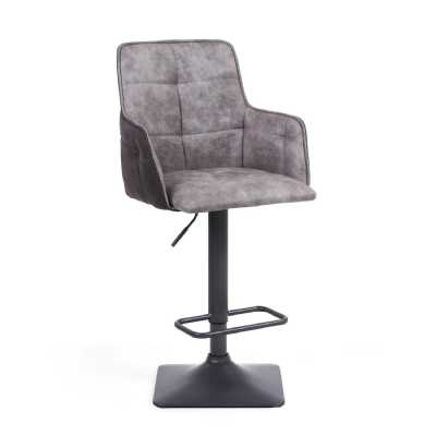 Orion Suede Effect Light Grey Bar Stool