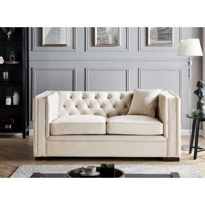 Montreal 2 Seater Oatmeal Fabric Upholstered Traditional Buttoned Sofa Set