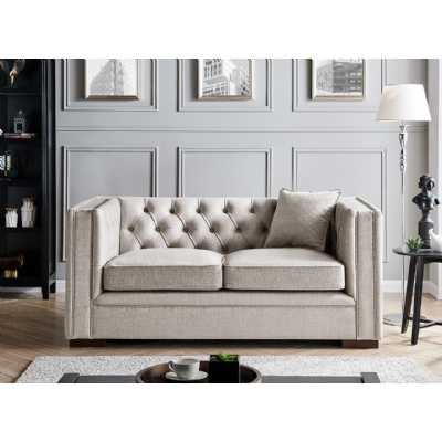 Montreal 2 Seater Pebble Grey Fabric Upholstered Traditional Buttoned Sofa Set