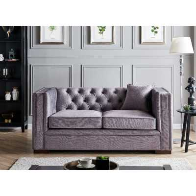 Montreal 2 Seater Slate Grey Fabric Upholstered Traditional Buttoned Sofa Set