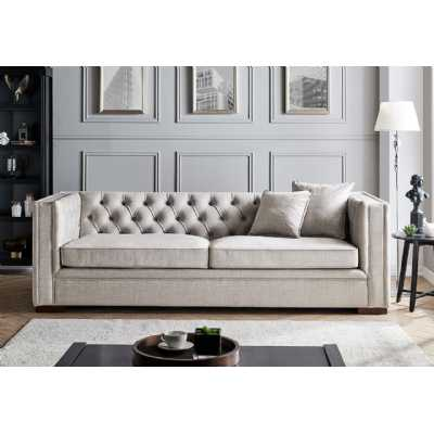 Montreal 3 Seater Pebble Grey Fabric Upholstered Traditional Buttoned Sofa Set