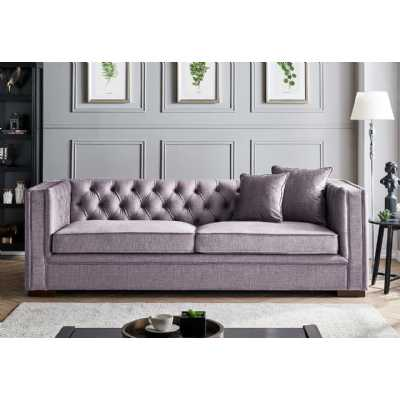 Montreal 3 Seater Slate Grey Fabric Upholstered Traditional Buttoned Sofa Set