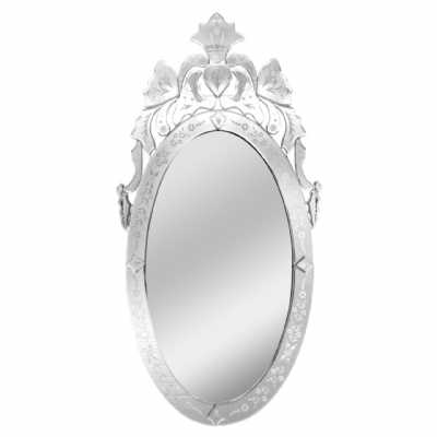 Large Venetian Chic Glass Oval Etched Decorative Ornate Wall Mirror